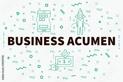 Photo Conceptual business illustration with the words business acumen