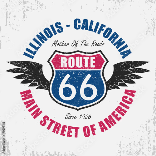 Route 66 typography graphic for t-shirt Canvas Print