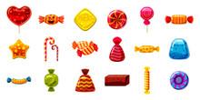 Candy Icon Set, Cartoon Style