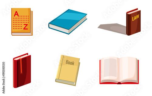 Valokuvatapetti Book icon set, cartoon style