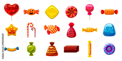 Candy icon set, cartoon style