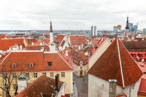 Aerial view on the old town with main central steet in Tallinn, Estonia
