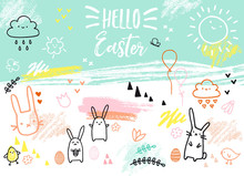 Hand-drawn Easter Card With Bu...