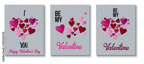 Fototapeta Valentines Day Greeting Cards, Love Holiday Sale Banner Ads Vector Set. Romantic Background, Gift Voucher Template. Valentines Day Greeting Cards, Ads Retro Decoration Sale Banner with Lettering obraz na płótnie