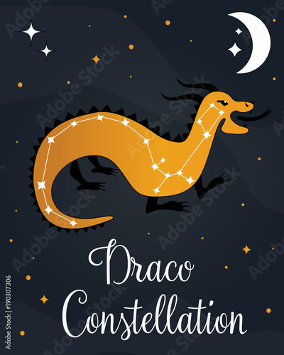 The constellation Draco star in the night sky - Buy this