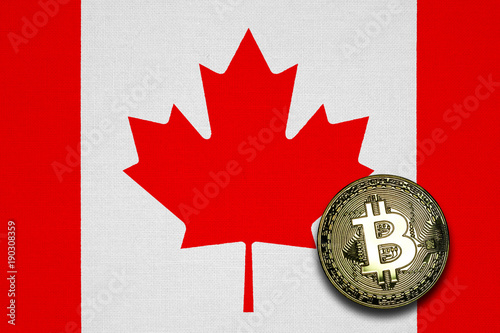 Spoed Foto op Canvas Canada Gold Bitcoin with Canada flag in the background