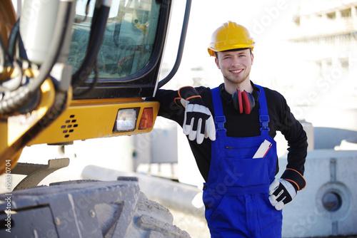 Bauarbeiter, Baustelle und Bagger Tapéta, Fotótapéta