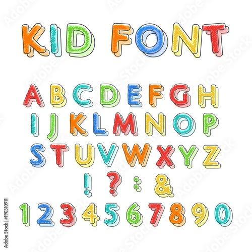 Colorful doodle alphabet  Kids handwritten doodles font or childlike