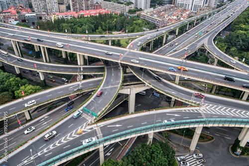 Zdjęcie XXL Skrzyżowanie w Szanghaju w Chinach