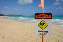Beautiful Waimanalo Beach Oahu Hawaii Scene With Warning Jellyfish Danger Sign On A Sunny Day