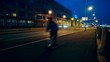 People exercise at night on a bicycle