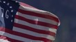 American 76 flag extreme slow motion close up flapping in the wind
