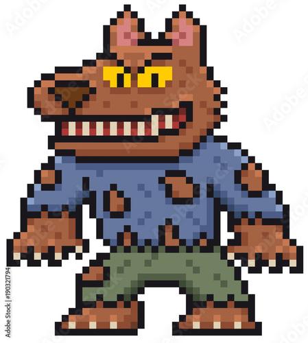Foto op Aluminium Pixel Vector illustration of Cartoon Werewolf - Pixel design