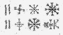 Futhark Norse Islandic And Viking Runes Set. Magic Hand Draw Symbols As Scripted Talismans. Vector Set Of Ancient Runes Of Iceland. Galdrastafir, Mystic Signs Of Early North Magic. Ethnic Norse Viking
