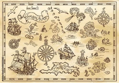 Design set with nautical decorative elements, fantasy creatures, pirate treasure map details Fototapete