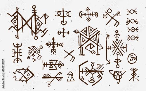 Fotografie, Obraz  Futhark norse islandic and viking runes set