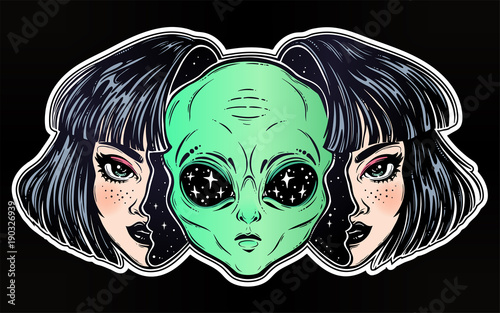 Photo  Alien from outer space face in disguise as a girl.