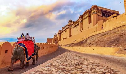 Amer Fort Jaipur - Tourists enjoy elephant ride at sunrise
