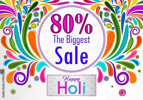 Colorful Traditional Holi Shopping Discount Offer Advertisement Background For Festival Of Colors India