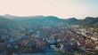 aerial view of Com lake with city Como, Italy