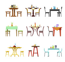 Tables And Chairs Vector Icons...