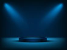 Cylinder Podium Under Blue Lig...