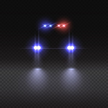 Vector Realistic Police Car Light Effect On Dark Transparent Background.