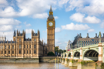 Fototapeta London city travel holiday background. Big Ben and Houses of parliament with Westminster bridge in London, England, Great Britain, UK.