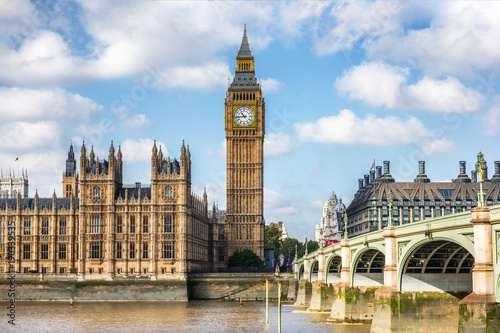 Foto op Canvas Londen London city travel holiday background. Big Ben and Houses of parliament with Westminster bridge in London, England, Great Britain, UK.