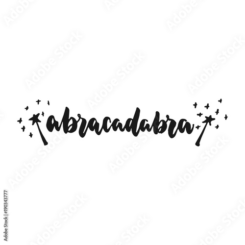 Abracadabra - hand drawn lettering phrase isolated on the white background Canvas Print