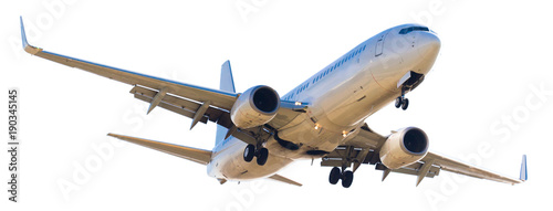 modern airplane on isolated white background Canvas Print