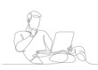 continuous line drawing man sitting at a laptop
