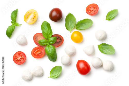 Cuadros en Lienzo Tomatoes, Basil and Mozzarella Isolated on White Background