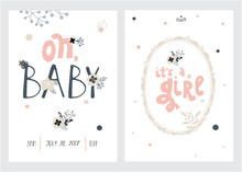 Set Of Perfect Vector Card Templates. Ideal For Baby Shower, Mothers Day, Valentines Day, Birthday Cards, Invitations, Prints, Scrapbook