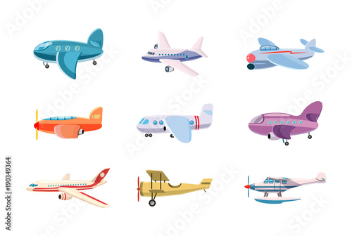 Airplane icon set, cartoon style Canvas Print