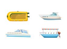 Boat Icon Set, Cartoon Style