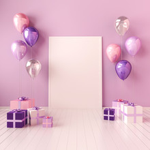 3D Interior Mock Up Illustration With Violet And Pink Balloons And Gift Boxes. Glossy Composition With Poster Size Empty Space For Birhtday, Party Or Other Promotion Social Media Banners.