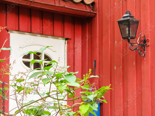 Photo sur Toile Jaune Damstredet, residential area of Oslo with old wooden houses. Landmark of Oslo, Norway capital