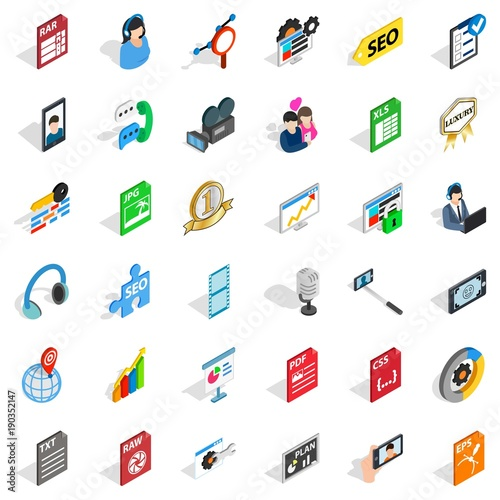 Fotografía  Variety of press icons set, isometric style