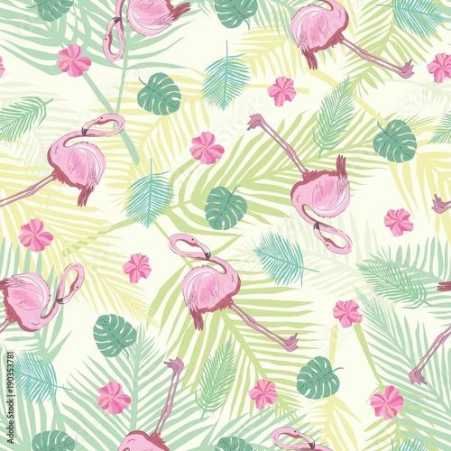 piekny-bezszwowy-wektorowy-tropikalny-deseniowy-tlo-z-flamingiem-i-poslubnikiem-streszczenie-tekstura-paski-idealny-do-tapet-tla-stron