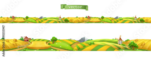 Farm. Landscape, seamless panorama. 3d vector illustration