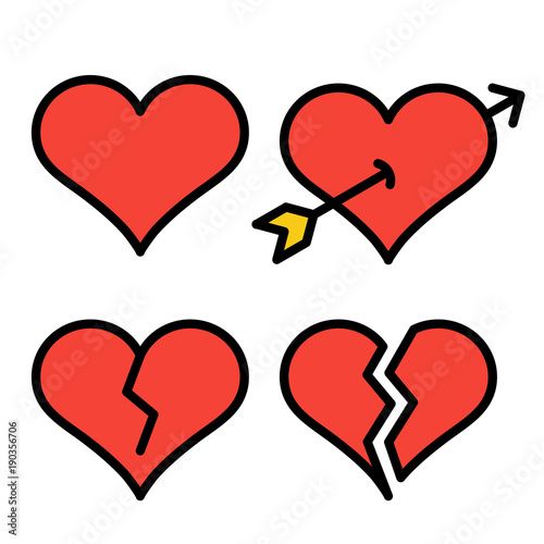 Set Of Red Outline Broken Heart Icons Isolated On White Background
