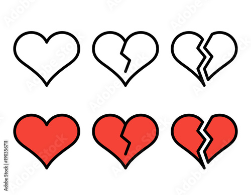 Set Of Outline Broken Heart Icons Isolated On White Background Line