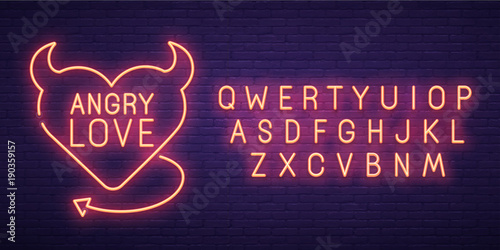 Angry Love. 3d neon sign, bright signboard, light banner. Valentine's day logo, emblem and label. Neon sign creator. Neon text edit