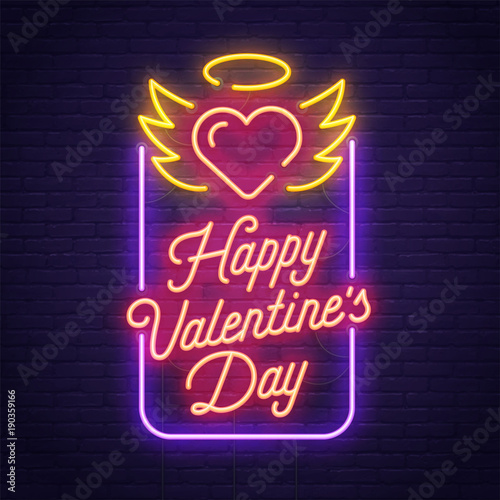 Happy Valentine's day. 3d neon sign. Realistic neon sign. Love day banner, logo, emblem and label. Bright signboard, light banner.