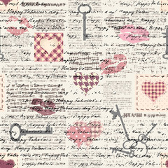 Panel Szklany Do pokoju dziewczyny Seamless background pattern. Hearts pattern in a patchwork style.