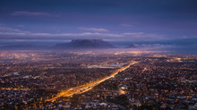 City Scape Over Cape Town South Africa At Dawn, As Seen From Tygerberg Hill In The Northern Suburbs Of Cape Town.