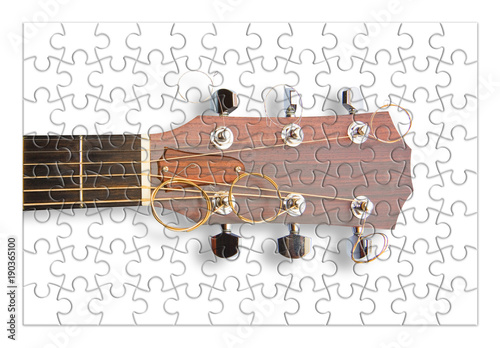 Fotografie, Obraz  Step by step learning to play the guitar - concept image in jigsaw puzzle shape