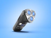 Electric Shaver 3d Render On Blue Background