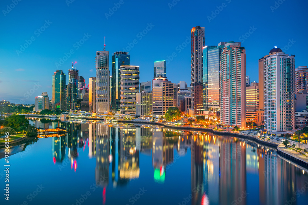 Fototapeta Brisbane. Cityscape image of Brisbane skyline, Australia during sunrise.